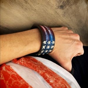 Up-Cycled Red White Blue Stars Stripes Flag Cuff